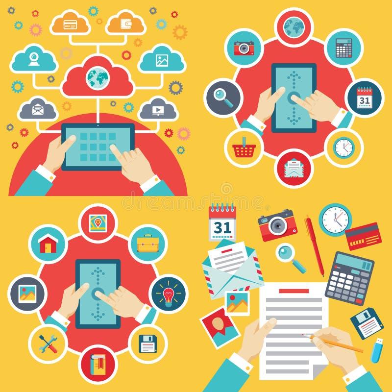 企业在平的样式的概念例证 办公室,片剂,人的手 互联网连接创造性的布局 被设置的图标 皇族释放例证