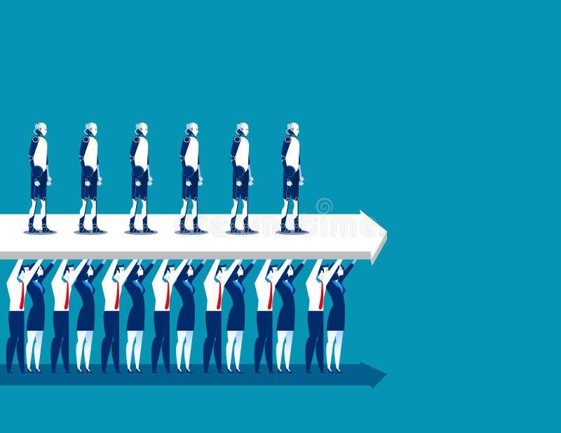 企业在站立在箭头的机器人的队推力 概念事务 库存例证