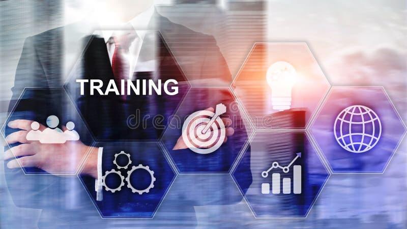 企业培训概念 训练Webinar电子教学 财政技术和通信概念 免版税库存图片