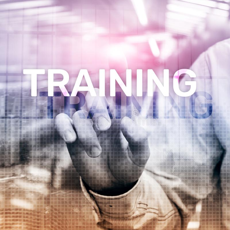 企业培训概念 训练Webinar电子教学 财政技术和通信概念 向量例证