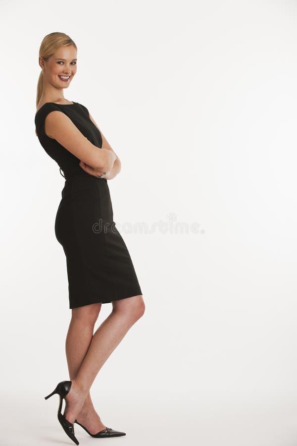 企业复制倾斜的空间妇女 图库摄影