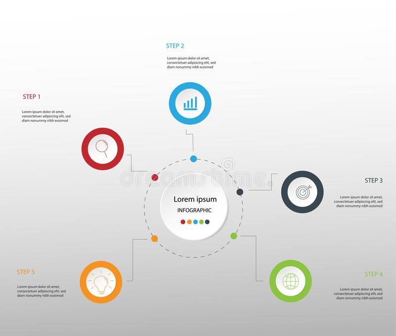 企业多色infographics的现代设计元素 Vec 库存例证