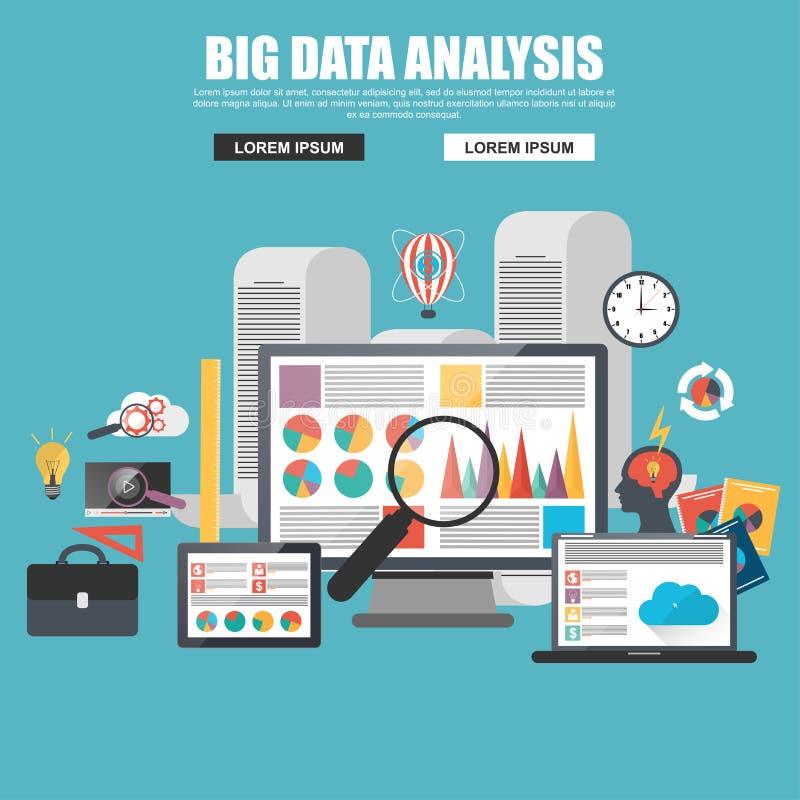 企业大数据分析的平的设计观念 库存例证