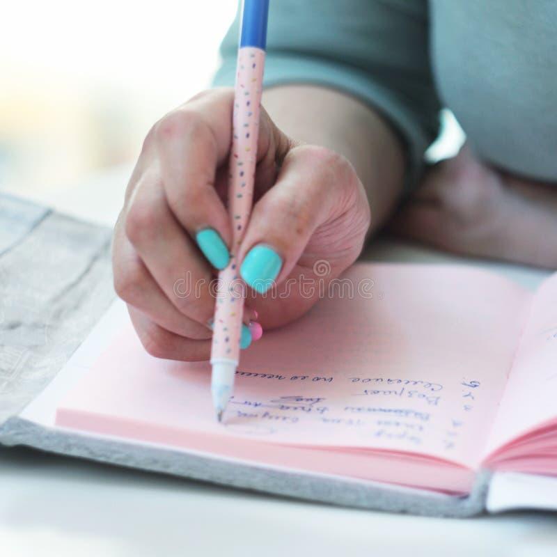 企业夫人写一个桃红色笔记薄 库存照片