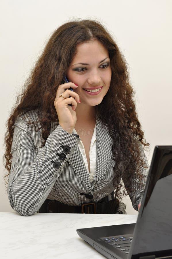 企业夫人电话联系 免版税库存照片