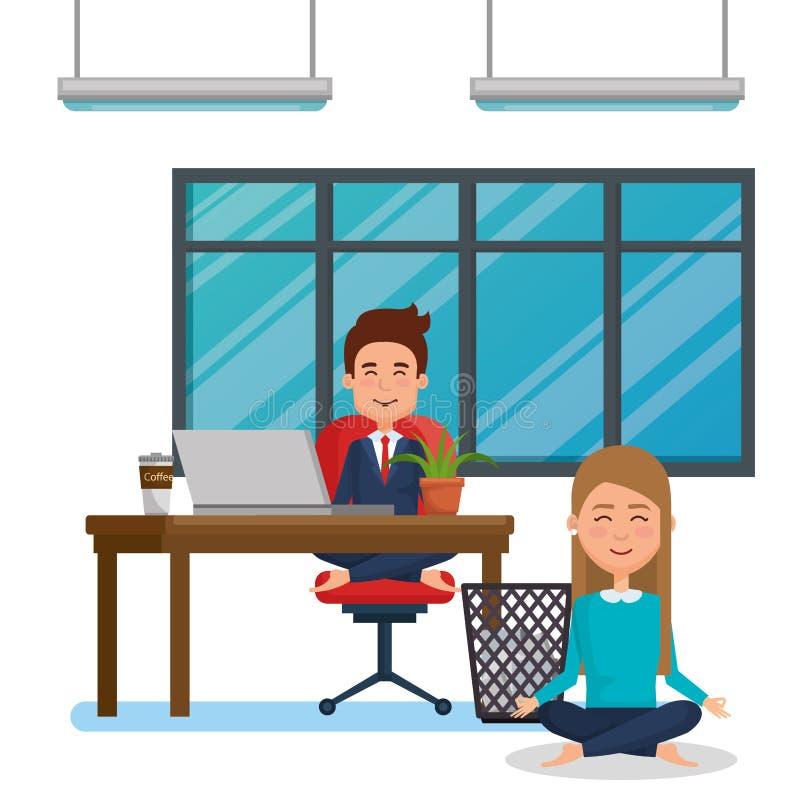 企业夫妇实践的瑜伽 库存例证