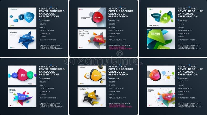 企业套设计小册子,抽象年终报告,水平的盖子布局,在A4的飞行物与五颜六色的传染媒介 皇族释放例证