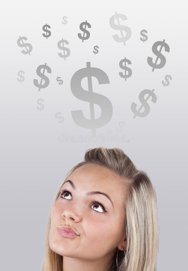 企业女孩题头图标图象查找 免版税库存图片