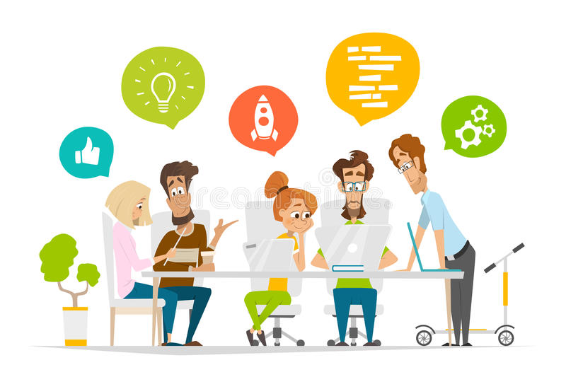企业字符人在现代办公室合作场面配合 库存例证