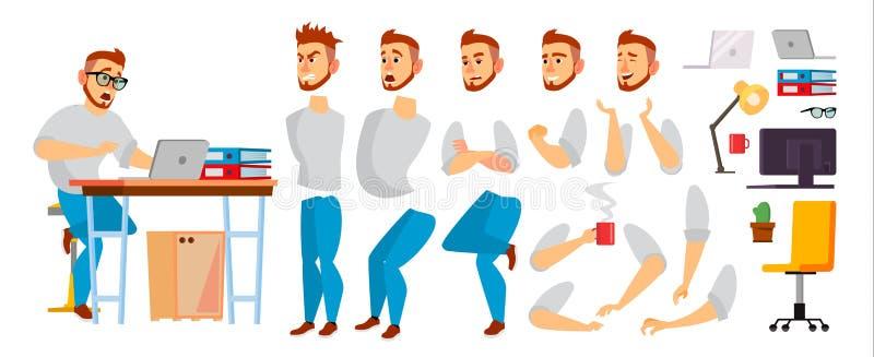 企业字符传染媒介 工作的男性 环境过程在办公室或创造性的演播室 为动画设置 充分 皇族释放例证