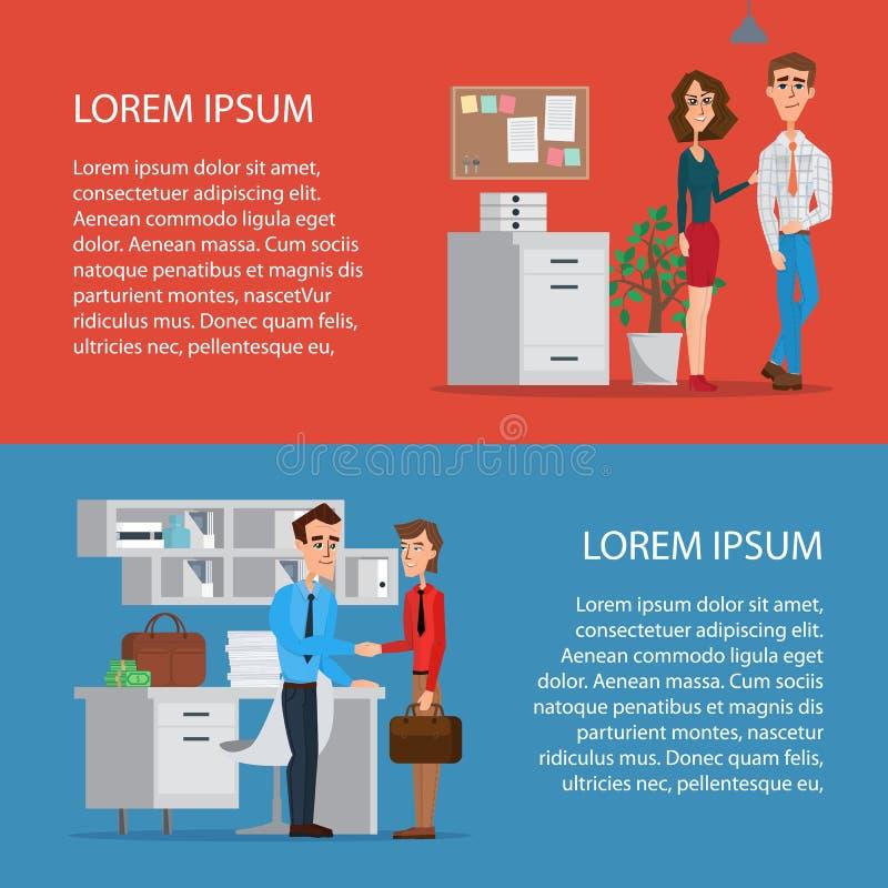 企业字符场面 配合在现代营业所 库存例证