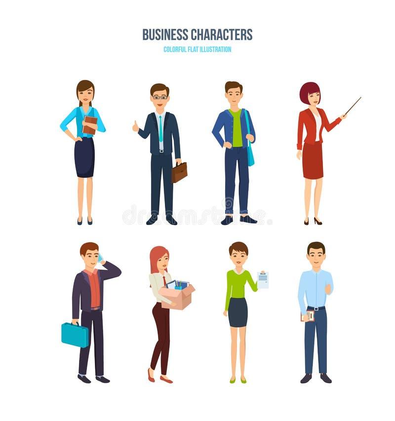 企业字符 办工室职员用不同的情况 向量例证