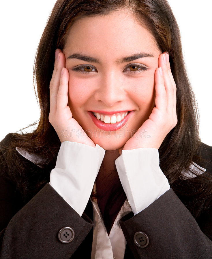 企业宜人地惊奇的妇女年轻人 免版税库存图片