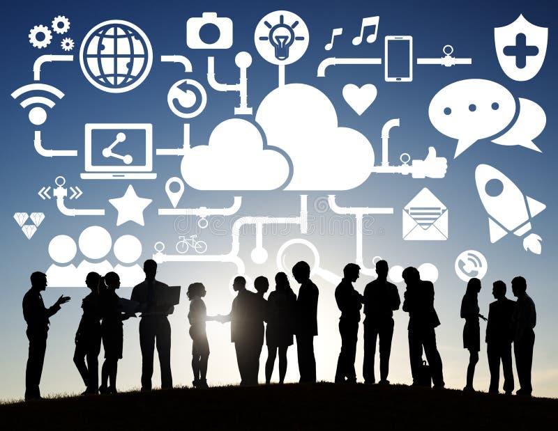 企业室外队配合合作支持概念 图库摄影