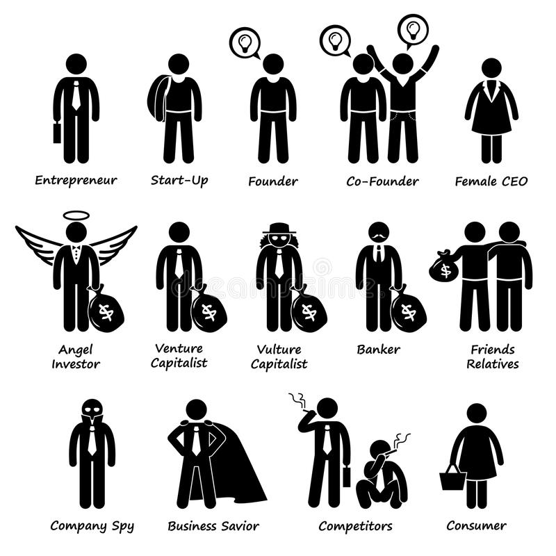 企业家投资者和竞争者Cliparts 库存例证