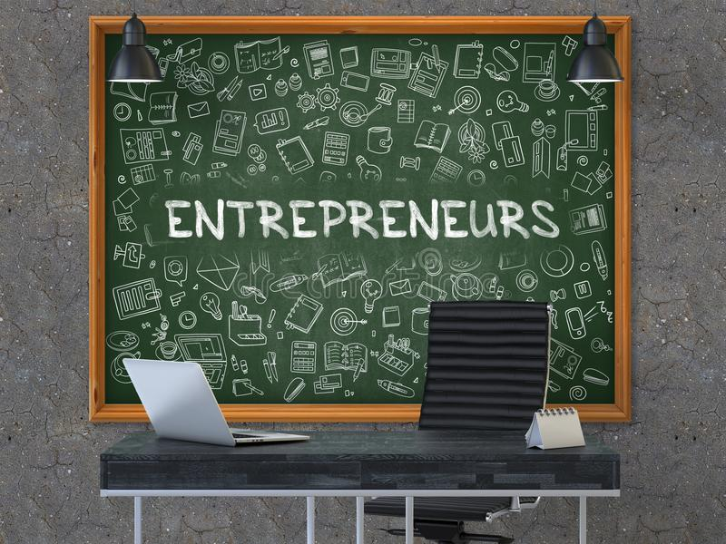 企业家概念 在黑板的乱画象 3d 库存例证