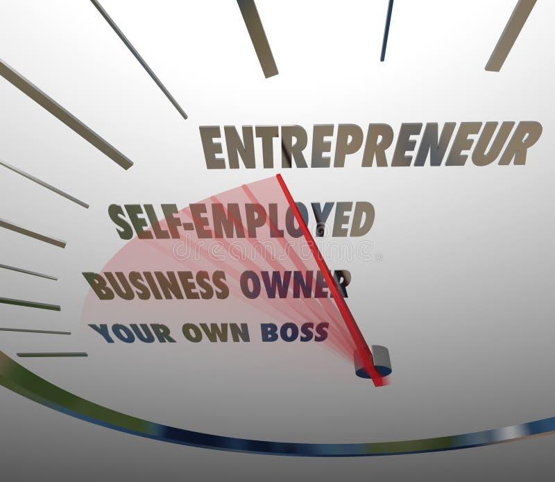 企业家车速表伸手可及的距离新的平实事务 库存例证