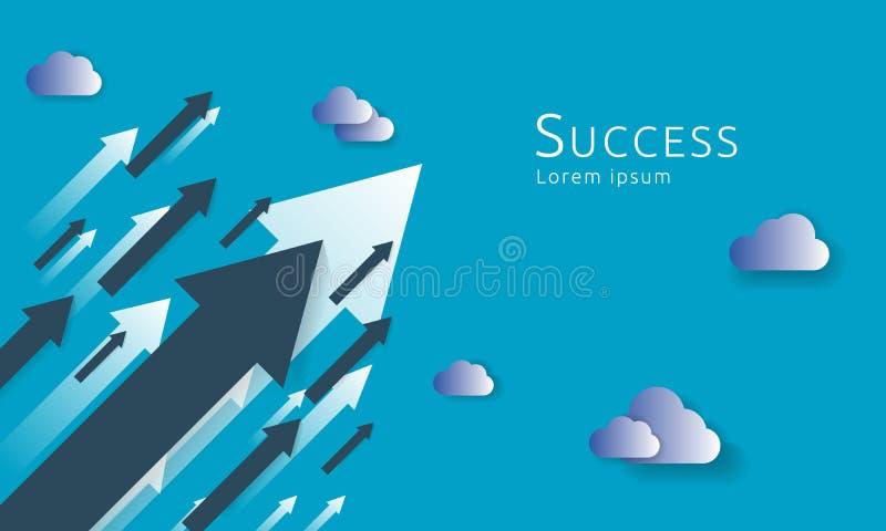 企业对成功的箭头概念 成长曲线图增量赢利销售 舒展上升的财务金钱  背景传染媒介我 向量例证