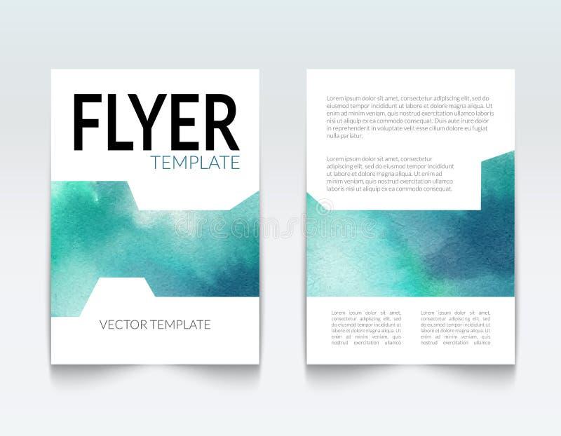 企业小册子报告设计模板 传染媒介飞行物布局,五颜六色的水彩背景 向量例证