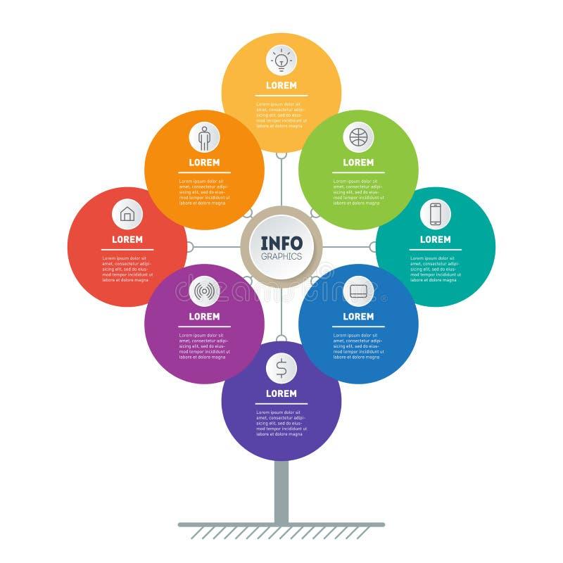 企业小册子设计模板 与8个选择的介绍概念 树、信息图或者图网模板  ?? 皇族释放例证