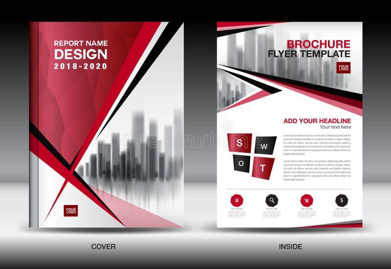 企业小册子飞行物模板,红色盖子设计,公司概况 向量例证