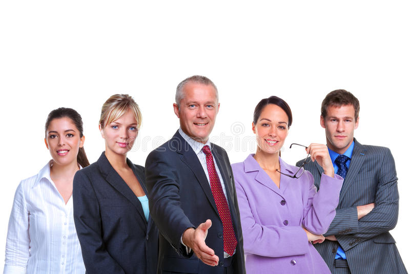 企业小组欢迎 库存照片