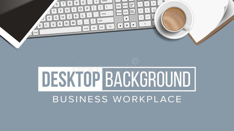 企业工作场所桌面背景传染媒介 数字式财务元素 膝上型计算机,键盘,咖啡杯,智能手机 皇族释放例证