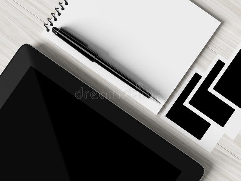 企业工作场所设置桌的大角度看法  向量例证