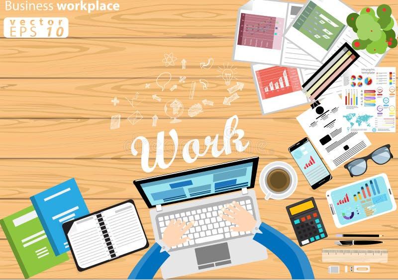 企业工作场所顶视图现代想法和概念导航与工作辅助部件的例证 皇族释放例证