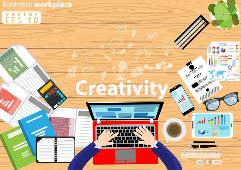 企业工作场所顶视图现代想法和概念导航与工作辅助部件的例证 库存例证