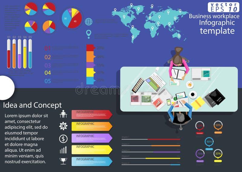 企业工作场所顶视图现代想法和概念导航例证与图表,象的Infographic模板 皇族释放例证