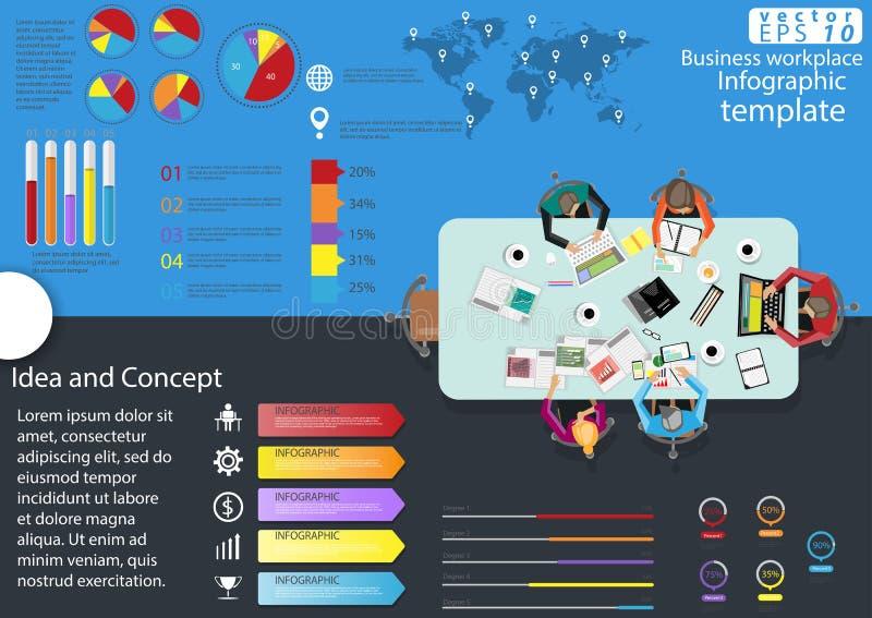 企业工作场所顶视图现代想法和概念导航例证与图表,象的Infographic模板 库存例证