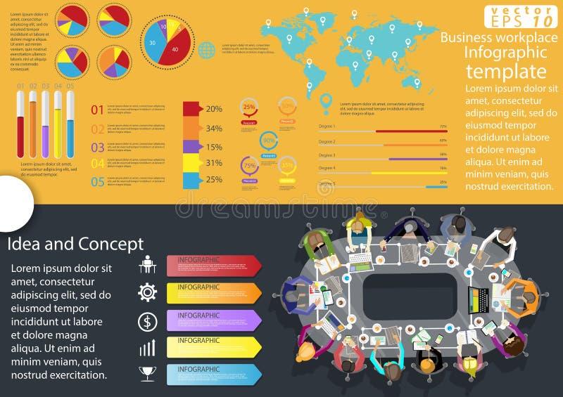 企业工作场所顶视图现代想法和概念导航例证与图表,象的Infographic模板 向量例证