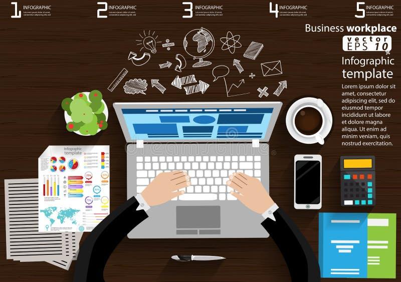 企业工作场所顶视图现代想法和概念导航例证与膝上型计算机,巧妙的电话,咖啡杯, Pe的Infographic模板 库存例证