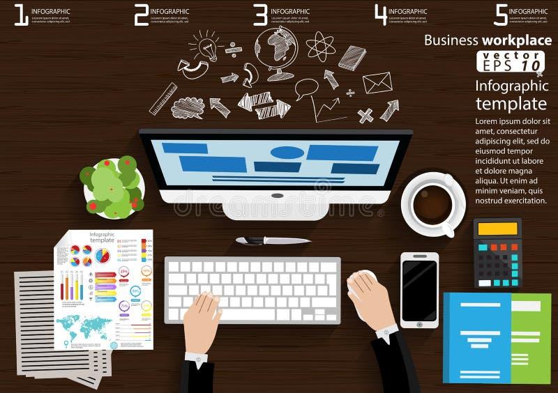 企业工作场所顶视图现代想法和概念导航例证与膝上型计算机,巧妙的电话,咖啡杯, Pe的Infographic模板 皇族释放例证