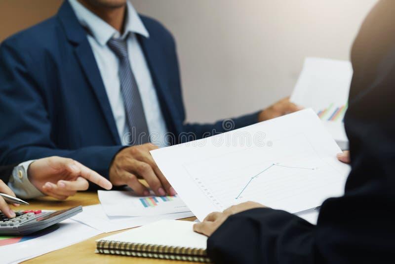 企业帐户与报告管理的队会议 免版税库存照片