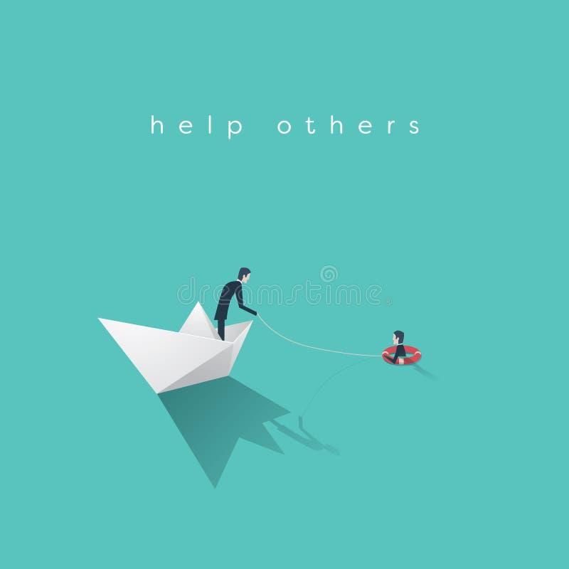 企业帮助传染媒介概念 破产,与商人的政府救助计划标志在纸小船和淹没人  库存例证