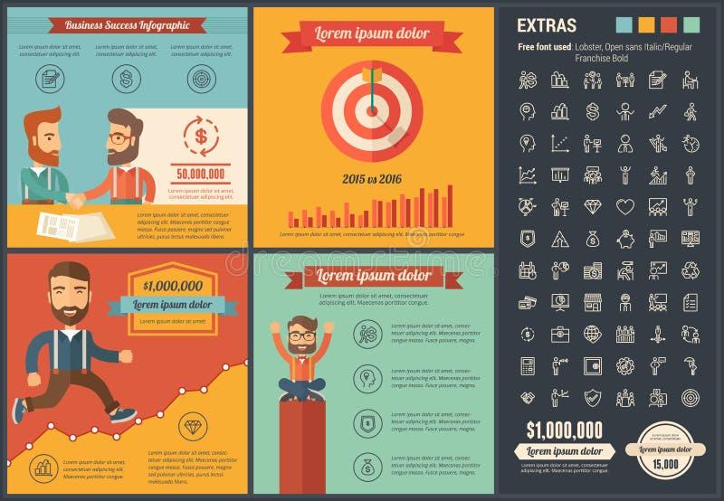 企业平的设计Infographic模板 库存例证