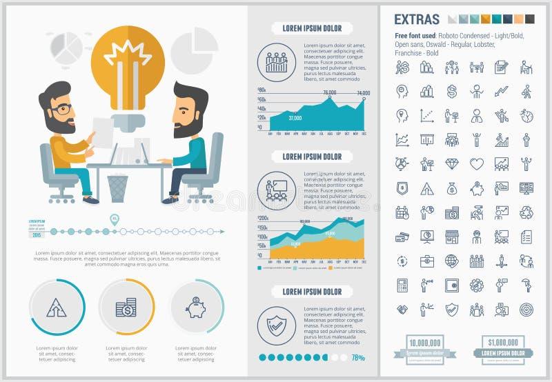 企业平的设计Infographic模板 向量例证