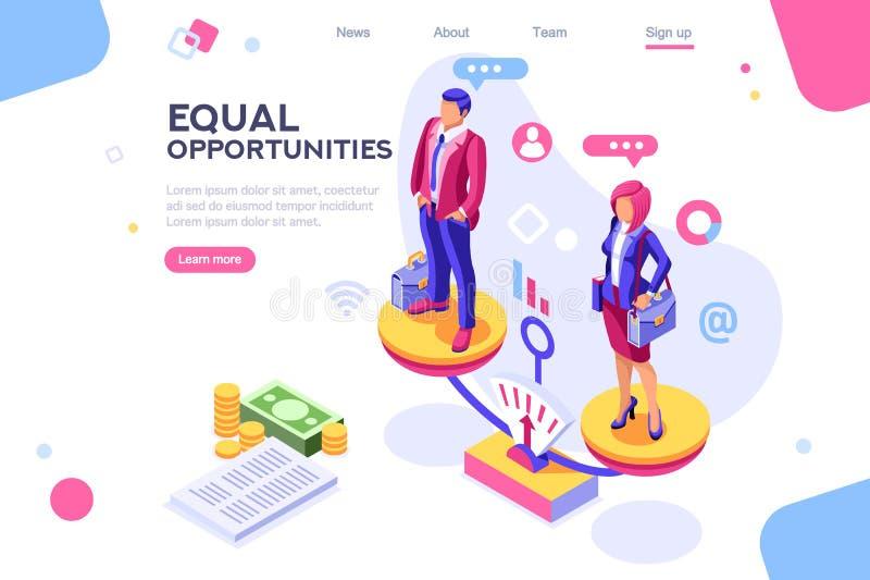 企业平等快乐的企业概念 向量例证