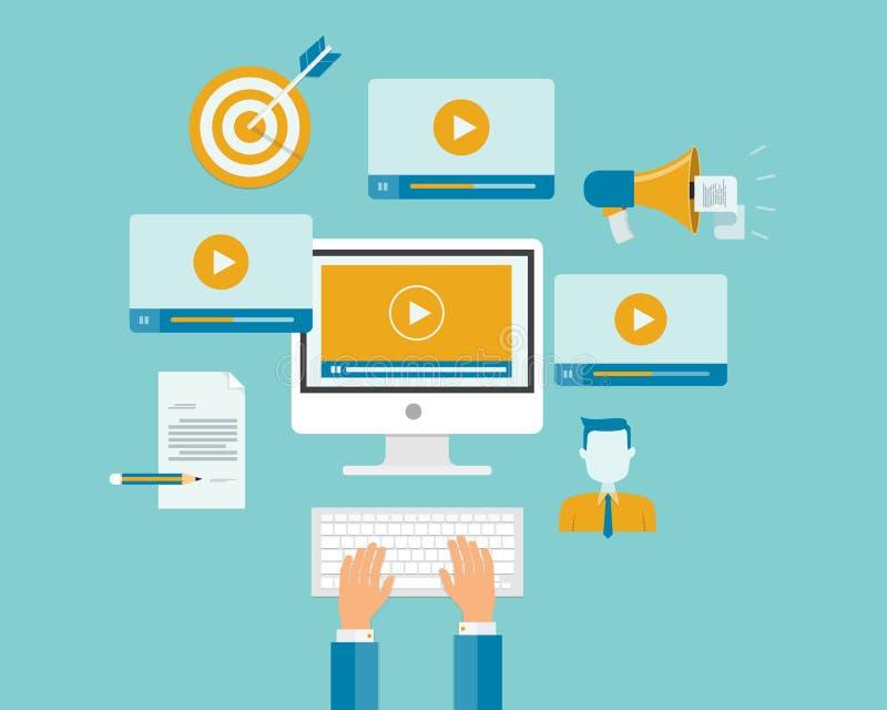 企业录影营销内容网上概念 向量例证