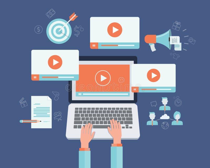 企业录影营销内容网上概念 库存例证
