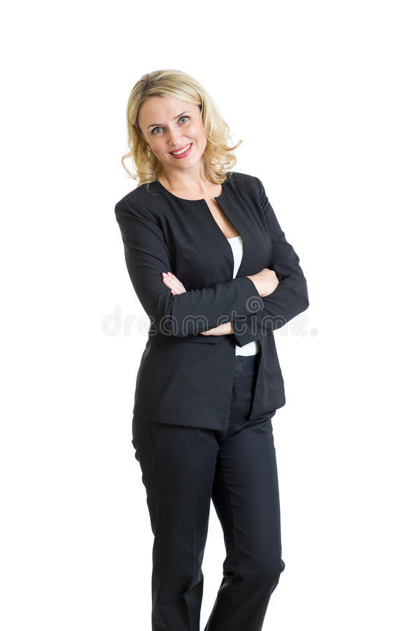 企业微笑的妇女 查出在白色 库存照片