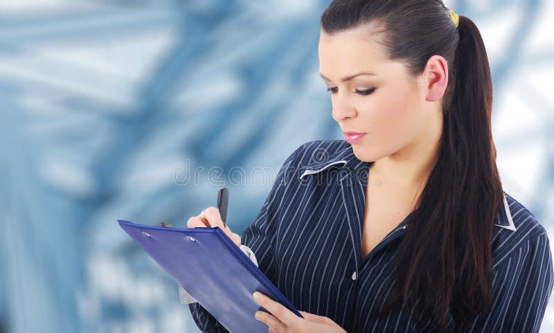 企业微笑的成功的妇女 免版税库存照片