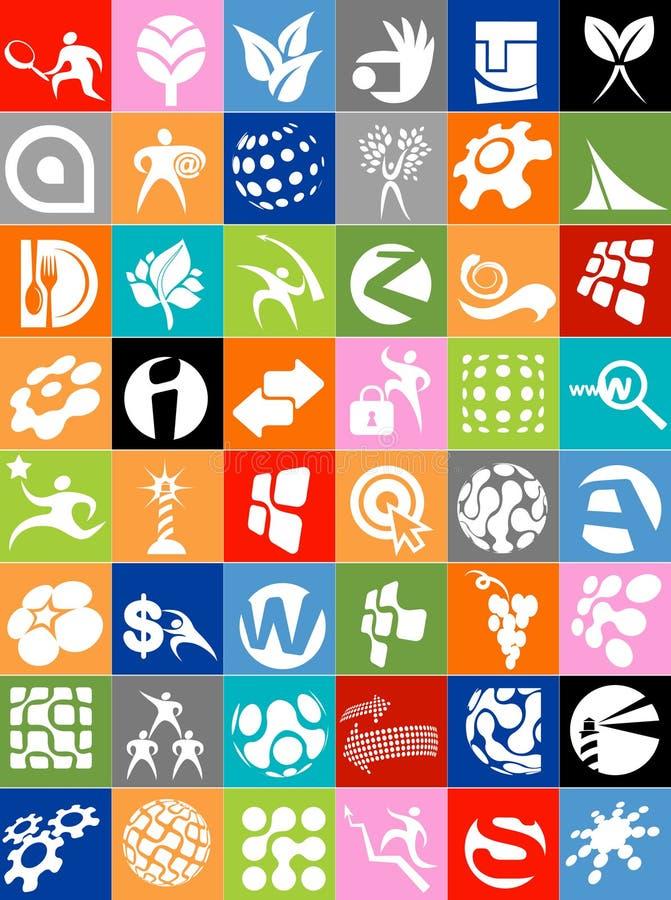 企业徽标和图标的巨大的收藏 库存例证