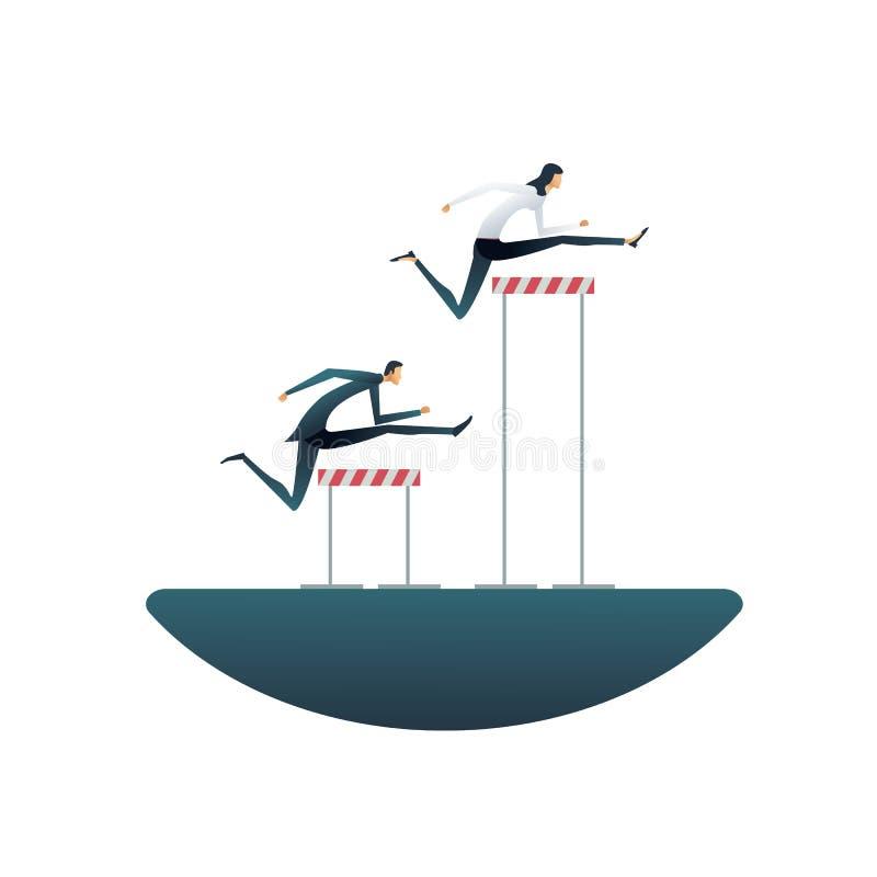 企业性别不平等与商人和女实业家的传染媒介概念用不同的障碍 标志  皇族释放例证