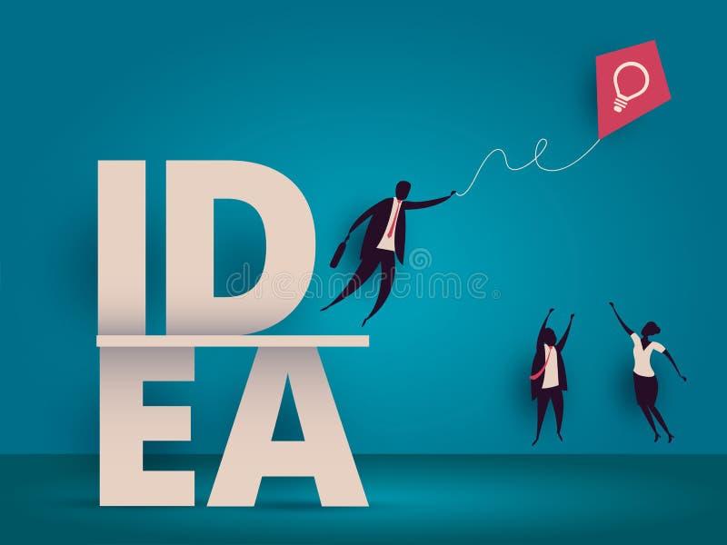 企业想法概念 奋斗为风筝的经理 库存例证