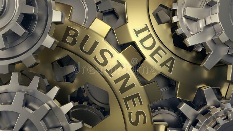 企业想法概念-金和银齿轮weel背景例证 3d回报 特写镜头 库存图片