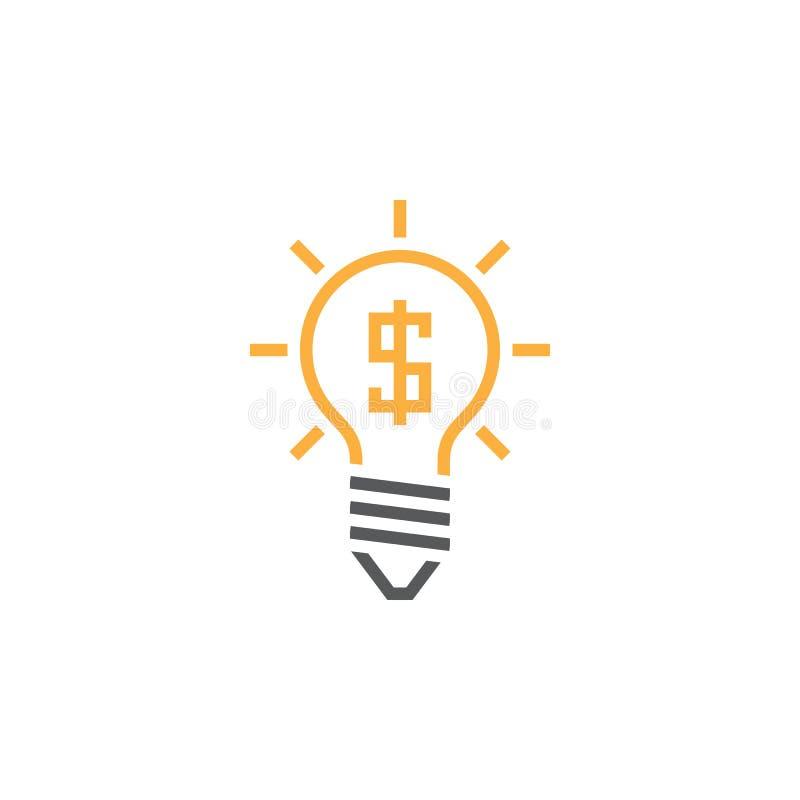 企业想法线象,电灯泡概述传染媒介商标,线性 向量例证