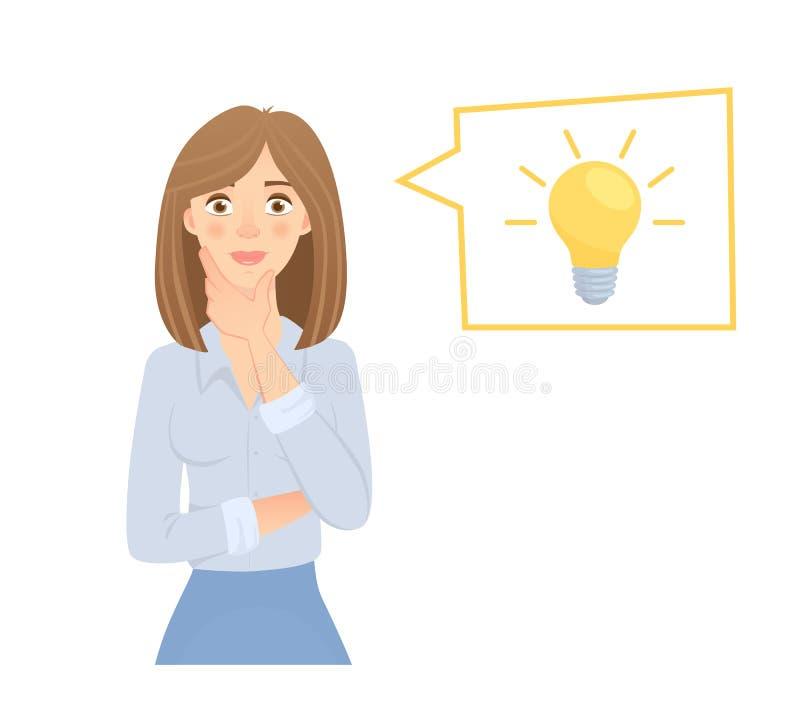 企业想法闪亮指示妇女 向量例证